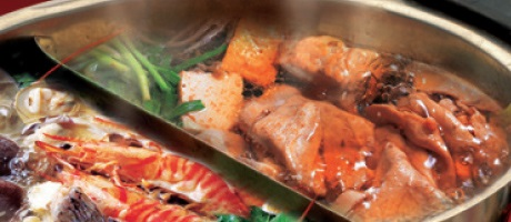 Hot pot with shrimp and beef