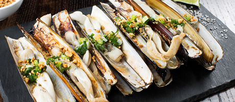 Razor clams arranged in a row with garnish