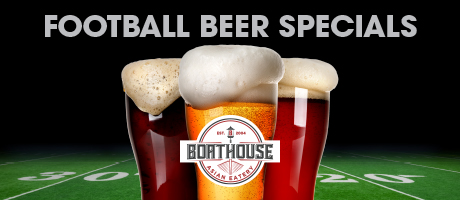 Football beer specials at Boathouse beer on green football beer background