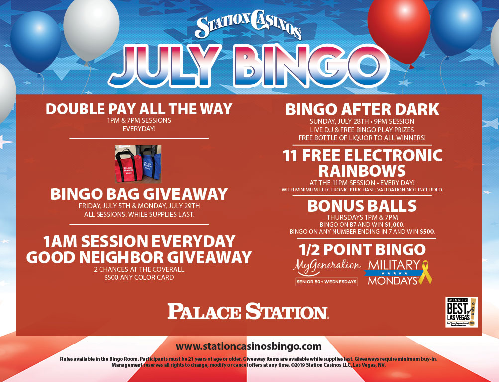 Palace Station July Bingo
